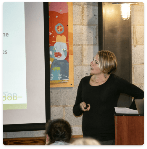 Ashley giving a talk